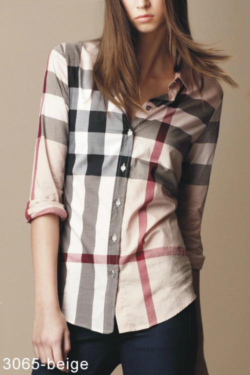brurberry chemise femmes 2014 populaire pour raye pas cher 3065 brun de eur 35. Black Bedroom Furniture Sets. Home Design Ideas