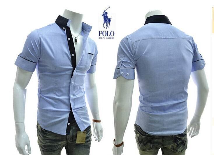 chemise ralph lauren hommes couleurs melangees manche courte hot sale g14 bleu de eur 35. Black Bedroom Furniture Sets. Home Design Ideas