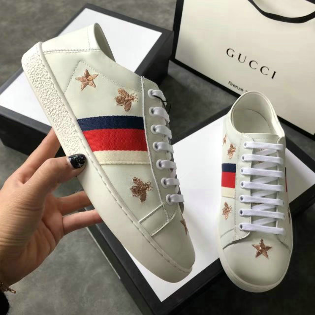 afb0835ed1 gucci sneakers chaussures femmes taille 36-44 five star honeybee white
