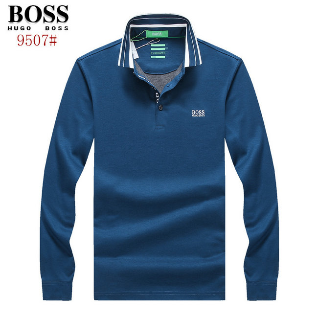 hugo boss polo t shirt manche longue regular fit pure color blue de eur 47. Black Bedroom Furniture Sets. Home Design Ideas