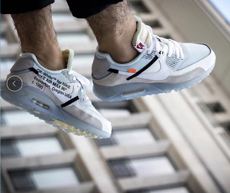 Off White Nike Air Max 90 Official Sneaker Ice On Feet