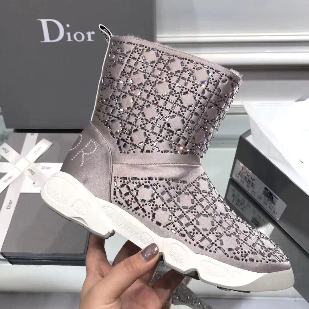 bottes dior femmes 2018 australian wool gray de  Dior boots femmes ... d67eb07211f