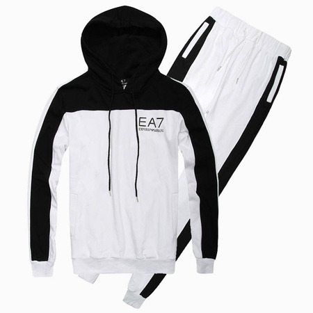 2f902d43fef8 armani survetement hoodie emporio ea7-6016 white black de  emporio ...