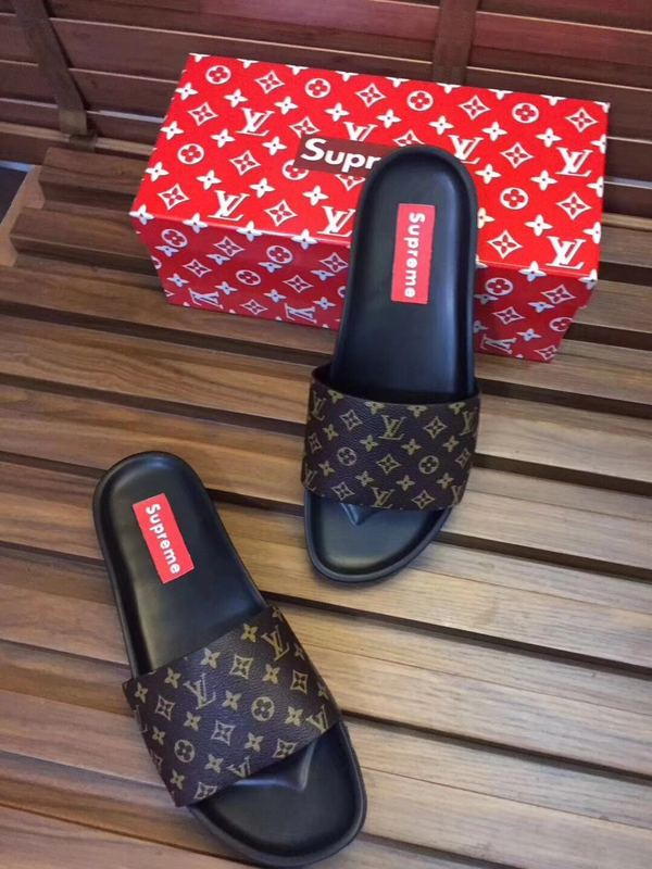 23553e6cb3a0 lv louis vuitton hommes sandals slippers classic old flower supreme brown