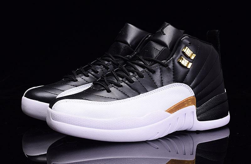 online retailer c987f 1d4ad new air jordan 12 taxi leather size 41-47 white black gold logo