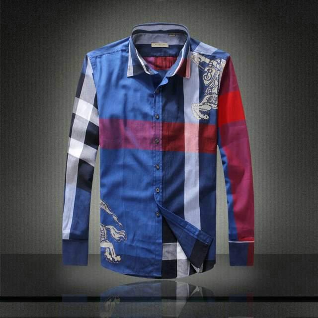 b4c2dab73af new acheter chemise burberry hommes imprime coupe etroite 5592 bleu