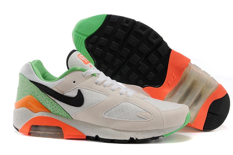 online store 72b74 212e2 nouveau Nike Air Max 180 haute qualite jogging homme pas cher Blanc Vert