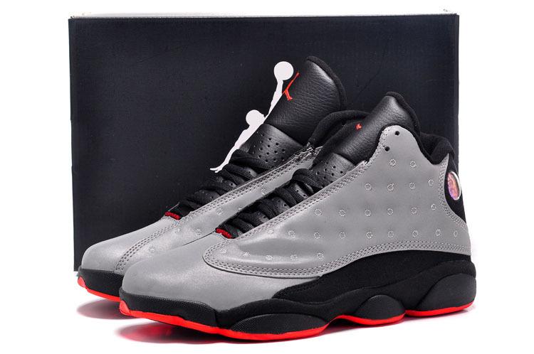los angeles dafc9 6aa44 chaussures air jordan 13 hommes cuir respirante taille 41-47 gris noir-rouge  bottom