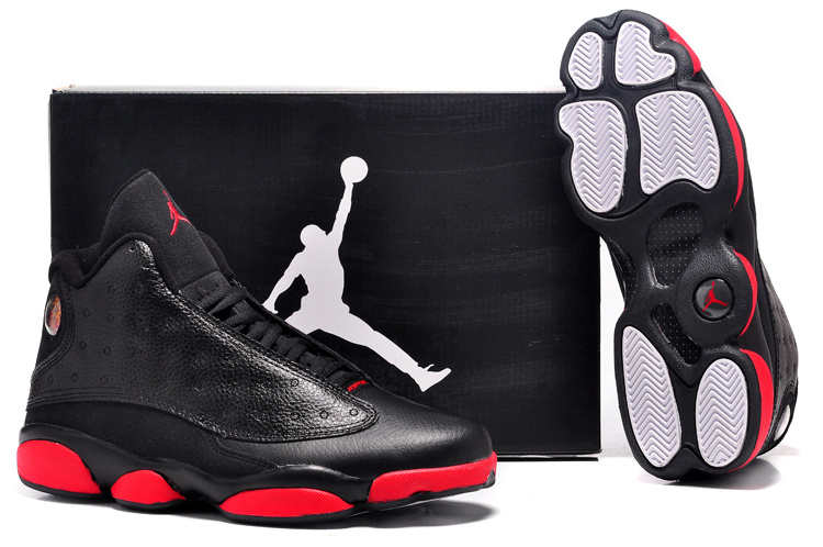 detailed pictures c24f5 390ae chaussures air jordan 13 hommes cuir respirante taille 41-47 noir rouge-blanc  bottom