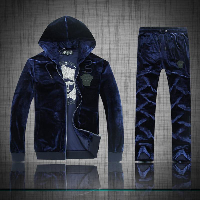 survetement capuche versace 2014 exquis hommes coton pas cher bleu de eur 60. Black Bedroom Furniture Sets. Home Design Ideas