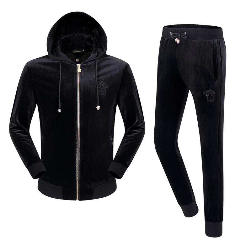 versace survetement sport en plein air velours or hoodie. Black Bedroom Furniture Sets. Home Design Ideas